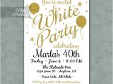 White Party theme Invitations White Party Invitation Printable White Gold Black Tie