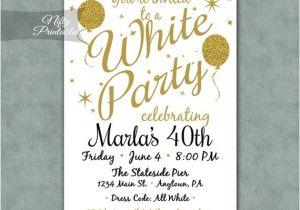 White Party theme Invitations White Party Invitation Printable White Gold Black Tie