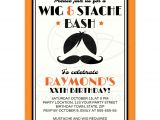Wig and Mustache Party Invitations Retro Wig and Mustache Bash Birthday Party Invitation