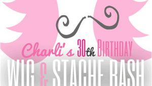 Wig and Mustache Party Invitations Wig and Mustache Bash Wig and Stache Party Invite From