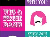 Wig and Mustache Party Invitations Wig and Stache Bash Mustache Printable Adult Birthday