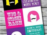 Wig Party Invitations Wig and Stache Bash Mustache Printable Adult Birthday