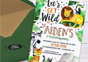 Wild Animal Birthday Party Invitations Safari Jungle Birthday Party Printable Invitations Cute