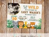Wild Animal Birthday Party Invitations Wild with Excitement Jungle theme Zoo Animal Birthday