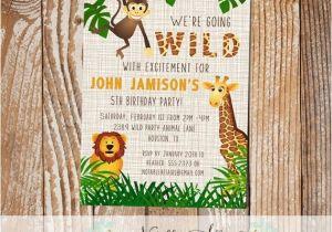 Wild Animal Birthday Party Invitations Wild with Excitement Jungle theme Zoo Animal Birthday