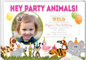 Wild Animal Birthday Party Invitations Zoo Birthday Party Invitation Safari Invitation by