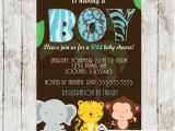 Wild Safari Blue Baby Shower Invitations Animal Print Blue Safari Baby Shower Invitation