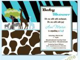 Wild Safari Blue Baby Shower Invitations Baby Shower Invitations Wild Safari Blue Baby Shower by