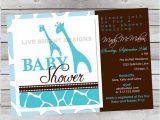 Wild Safari Blue Baby Shower Invitations Modern Wild Safari Boy Baby Shower Invitation Giraffe