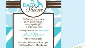 Wild Safari Blue Baby Shower Invitations Wild Safari Blue Baby Shower Invitations Style 2 by Starwedd