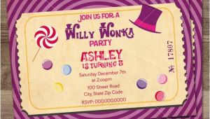 Willy Wonka Party Invitations Printable Free Willy Wonka Birthday Party Invitation Charlie and the