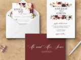 Wine Colored Wedding Invitations Marsala Wedding Invitation Floral Burgundy Wedding