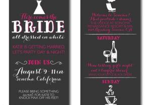 Wine Tasting Bachelorette Party Invitation Wording Bachelorette Invitations with Itinerary Wine Tasting