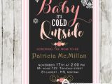 Winter Baby Girl Shower Invitations Winter Baby Shower Invitations Pink Stripes Floral