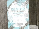 Winter Wonderland Baby Shower Invitation Wording Winter Wonderland Baby Shower Invitation Snowflakes Blue