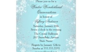 Winter Wonderland Quinceanera Invitations Blue Snowflake Winter Wonderland Quinceanera Personalized