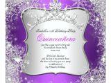 Winter Wonderland Quinceanera Invitations Quinceanera 15th Winter Wonderland Silver Purple