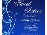 Winter Wonderland Sweet 16 Party Invitations Blue Swirl Winter Wonderland Sweet 16 Invitation Zazzle