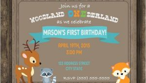 Woodland Onederland Birthday Invitations Digital Woodland Onederland First Birthday Party by