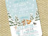 Woodland Onederland Birthday Invitations Winter Onederland 1st Birthday Invitation First Birthday