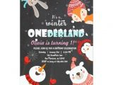 Woodland Onederland Birthday Invitations Winter Onederland Birthday Woodland Invitation Zazzle