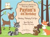 Woodland themed Birthday Invitations forest Friends Woodland theme Birthday Party Pigskins