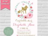 Woodland themed First Birthday Invitations Little Deer First Birthday Deer Woodland Birthday