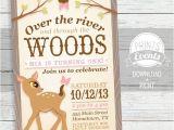 Woodland themed First Birthday Invitations Woodland Deer Birthday Invitation First Birthday