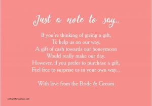 Wording for Wedding Invitations Money Instead Of Gifts Wedding Invitation Elegant Wording for Wedding