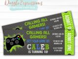 Xbox Party Invitations Printable Chalkboard Video Game Ticket Birthday Invitation