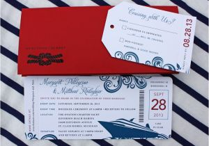Yacht Wedding Invitation Wording Red Blue Swirl Yacht Cruise Boarding Pass Wedding