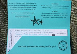 Yacht Wedding Invitation Wording Turquoise Teal Anchor Starfish Waves Yacht Boarding
