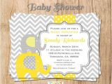 Yellow and Gray Elephant Baby Shower Invitations Grey and Yellow Elephant Baby Shower Invitation You