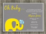 Yellow and Gray Elephant Baby Shower Invitations Printable Yellow and Gray Elephant Baby Shower Invitation