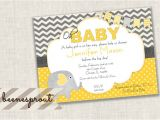 Yellow and Gray Elephant Baby Shower Invitations Yellow and Gray Elephant Baby Shower Invitation