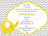 Yellow and Gray Elephant Baby Shower Invitations Yellow and Grey Elephant Baby Shower Invitation 4×6 or 5×7