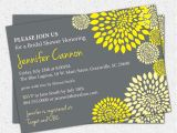 Yellow and Grey Bridal Shower Invitations Bridal Shower Invitation Printable Yellow and Charcoal Grey