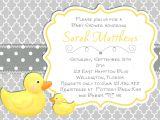 Yellow Duck Baby Shower Invitations Modern Rubber Duck Baby Shower Invitation Trefoil Yellow Gray