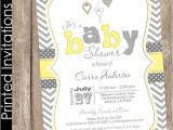 Yellow Gray Baby Shower Invitations Printed Neutral Yellow and Grey Baby Shower Invitation