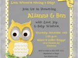 Yellow Gray Baby Shower Invitations whoo Baby Shower Invitation Surprise Owl Joy Chic Wood
