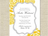 Yellow Gray Baby Shower Invitations Yellow and Gray Grey Baby Shower Invitation by