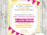 You are My Sunshine Baby Shower Invites Pink & Yellow You are My Sunshine Baby Shower Invitation
