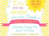 You are My Sunshine Baby Shower Invites You are My Sunshine Baby Shower Invitation Yellow Chevron