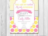 You are My Sunshine Baby Shower Invites You are My Sunshine Baby Shower Invitation Yellow Pink
