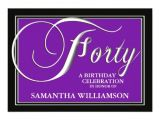 Zazzle 40th Birthday Invitations Elegant Purple 40th Birthday Invitations 13 Cm X 18 Cm