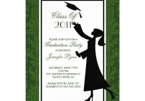 Zazzle Graduation Invitations Green White Damask Graduation Invitation Grad Zazzle