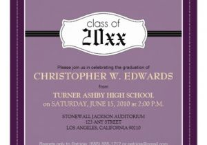 Zazzle Graduation Invitations Simple Graduation Announcement Invitation Purple 5 25