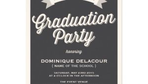 Zazzle Graduation Party Invitations Gray Retro Typography Graduation Party Invitation 5 Quot X 7
