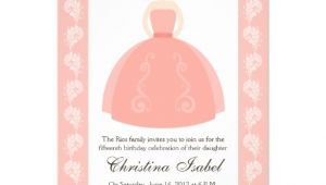 Zazzle Quinceanera Invitations Pink Quince Dress Brunette Quinceanera Invitations 5 Quot X 7