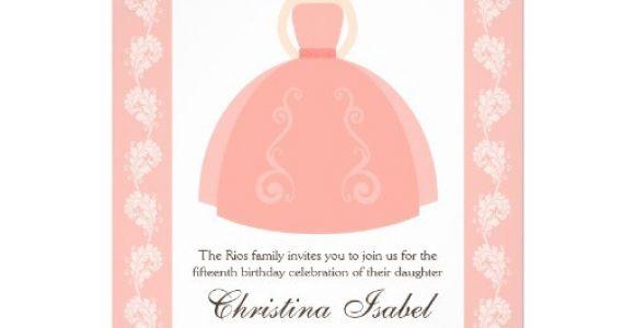 Zazzle Quinceanera Invitations Pink Quince Dress Brunette Quinceanera Invitations 5 Quot X 7